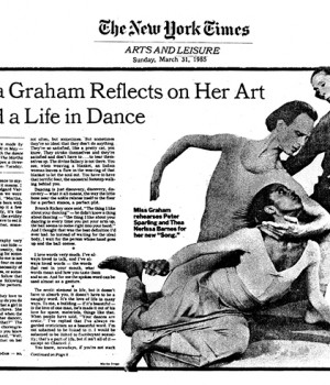 Martha Graham Reflects on Her Art And a Life in Dance