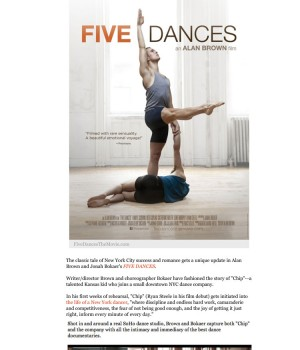 Poster and Stills from 'FIVE DANCES' by Alan Brown and Jonah Bokaer