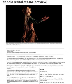 Singer Meredith Monk follows her own path to solo recital at CIM (preview)