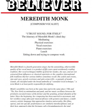 "MEREDITH MONK COMPOSER/VOCALIST  ""I TRUST SOUND, FOR ITSELF."""