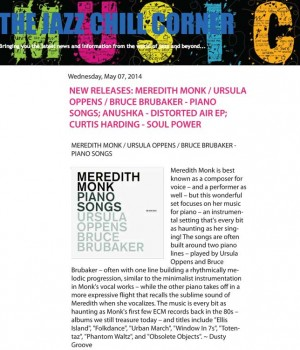 NEW RELEASES: MEREDITH MONK / URSULA OPPENS / BRUCE BRUBAKER – PIANO SONGS;