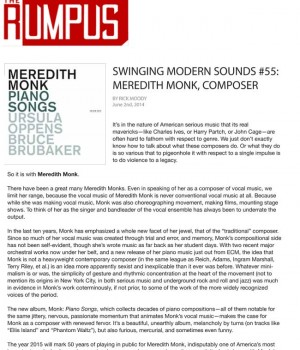Swinging Modern Sounds #55: Meredith Monk, Composer