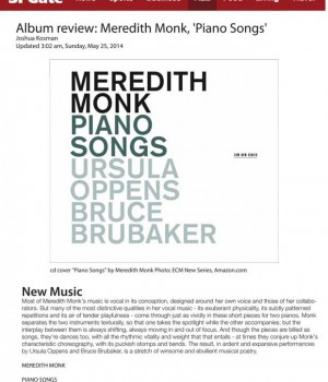 Album review: Meredith Monk, 'Piano Songs'