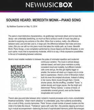 Sounds Heard: Meredith Monk—Piano Songs