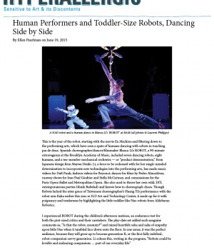 Human Performers and Toddler-Size Robots, Dancing Side by Side