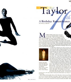 Paul Taylor: A Birthday Remembrance