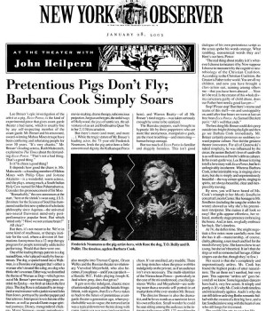 Pretentious Pigs Don't Fly; Barbara Cook Simply Soars