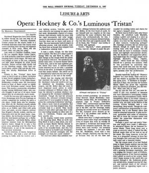 Opera: Hockney & Co.'s Luminous 'Tristan'