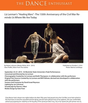 """Liz Lerman's """"Healing Wars"""" -The 150th Anniversary of the Civil War Reminds Us Where We Are Today"""